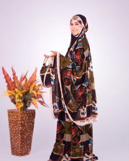 Mukenah FARAH BIRU POTONGAN rayon potongan motif